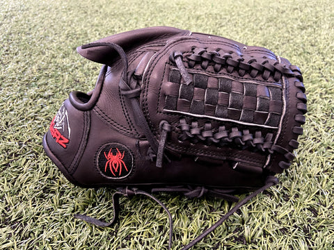 "ULTRA Fielding Glove - Black -11.5""- Basket Web, RHT - Free Custom Engraving"