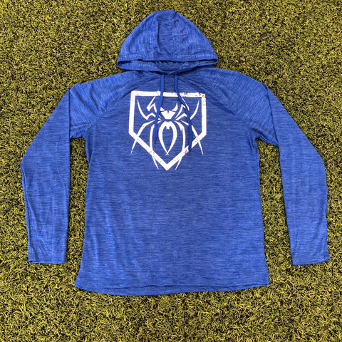 Spiderz Light Weight Performance Hoody - Royal Blue Heather/White