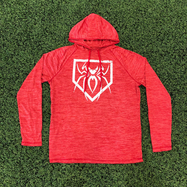 Spiderz Light Weight Performance Hoody - Red Heather/White