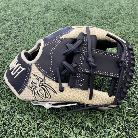 "PREMIER Fielding Glove - 11.5"", RHT, I-Web, Bone Snake Skin Stamped/Black - Free Custom Engraving"