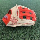 PREMIER Fielding Glove - RHT, H-Web, Bone/Red - Free Custom Engraving