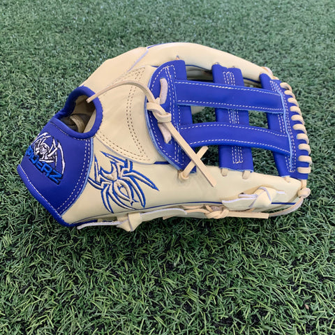 PREMIER Fielding Glove - RHT, H-Web, Bone/Royal Blue - Free Custom Engraving