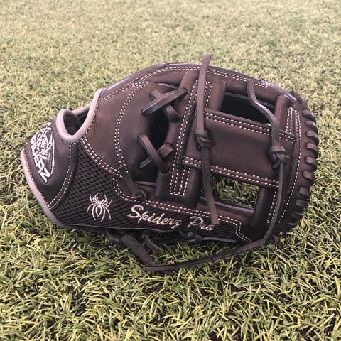 "Spiderz PRO Fielding Glove - Black/Black Mesh/Grey - 10.75""- I-Web , RHT"