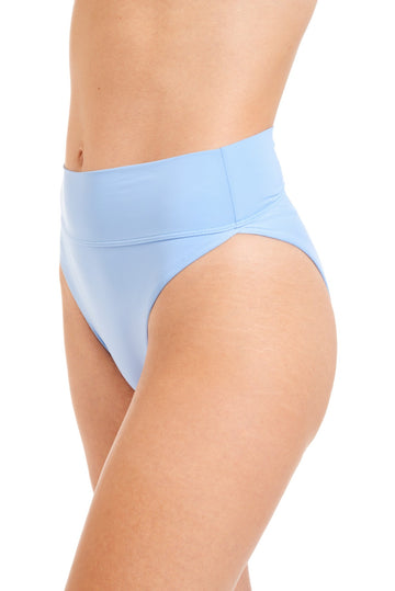 Close up a light blue bikini bottoms