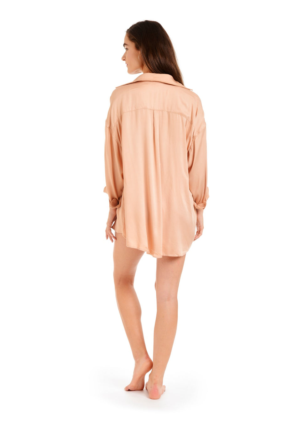 Back view of swimwear cover up dress without waist-tie