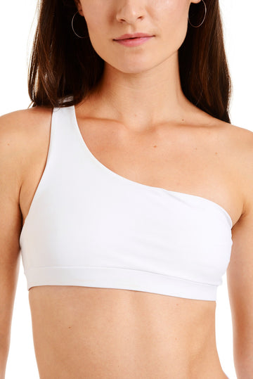 Close up front view of a white one shoulder bikini top