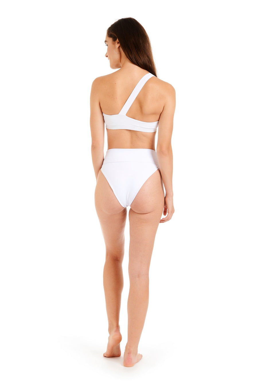 Back view of the tammy white one shoulder bikini top
