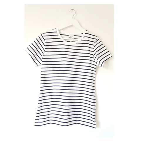 Or maybe you'd prefer longer-line striped tee.