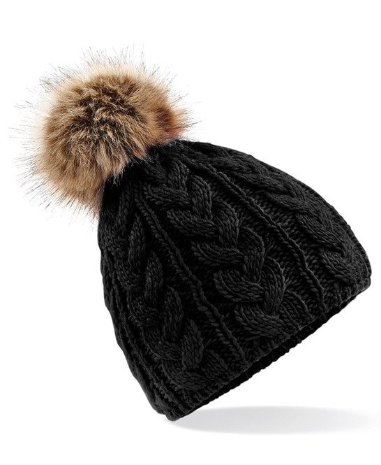 Black Cable Knit Faux Fur Pom Pom Beanie