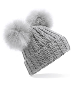 Light Grey Faux Fur Double Pom Pom Beanie Hat