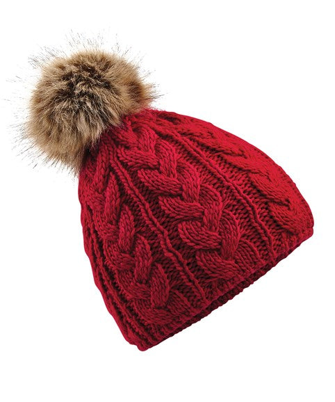 Red - Faux Fur Pom Pom Cable Knit Beanie