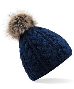 Navy- Faux Fur Pom Pom Cable Knit Beanie