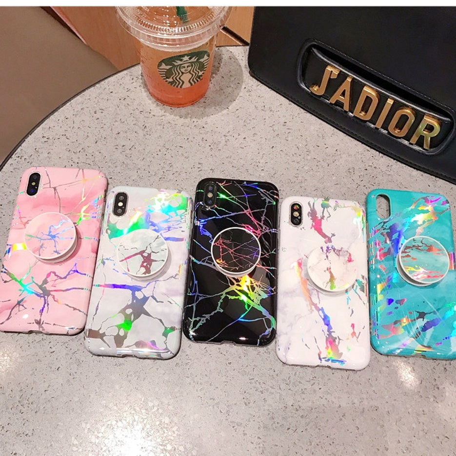 new styles 4cf24 95569 HOLOGRAPHIC MARBLE PHONE CASE & POP SOCKET