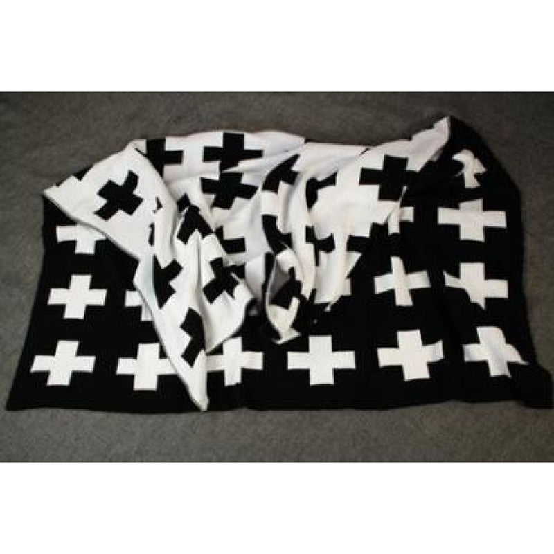 100% Cotton Reversible Black And White Cross Or Bunny Knitted Blanket Play Mat (4 Variants) - Cross / 110X90Cm - Accessories
