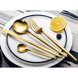 4 Pcs Golden Silverware Set - - Kitchen Accessories