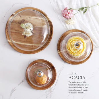 Acacia Wooden Plates With Glass Cover / Bell (Available In 3 Sizes) - - Kitchen Accessories