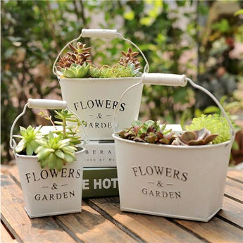 Antique Vintage White Flower Or Herbs Pot (3 Sizes) - - Homewares