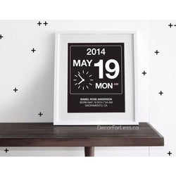 Babies Customizable Birthdate Wall Art - Black - The Perfect Gift! - - Wall Accents