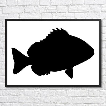 Black On White Abstract Canvas Poster (Fish Or Cat) - Wbc0125 - Wall Accents