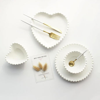 Ceramic Bead Edge Heart-Shaped Dish Or Bowl (Multiple Styles) - - Kitchen Accessories