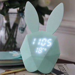 Clocks - Cute Rabbit Bunny Pink Or Mint - Digital Alarm Clock (Led) Night Light - Green - Accessories