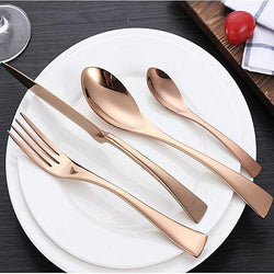 Cutlery Rose Gold Or Black Stainless Steel Utensils - 5Pcs Set - Rose Gold - Kitchen Accessories