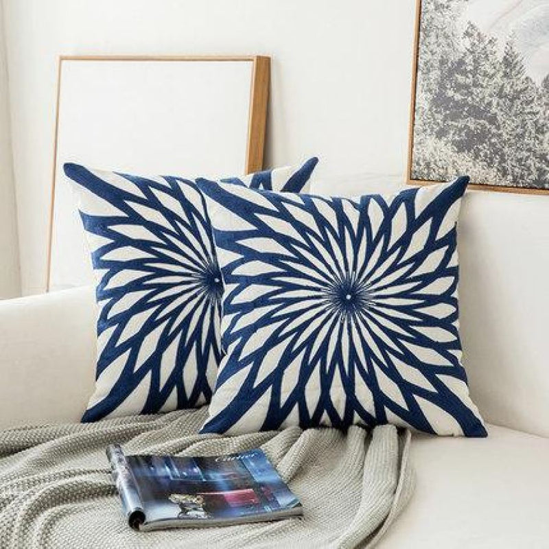 Embroidered Navy Blue/white Cushion Covers - A - Accessories