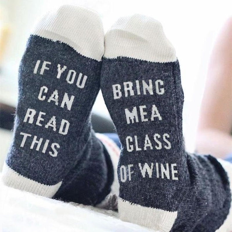 Funny Socks If You Can Read This Bring Me A Glass Of Wine 3 Colors - Deep Blue - Accessories