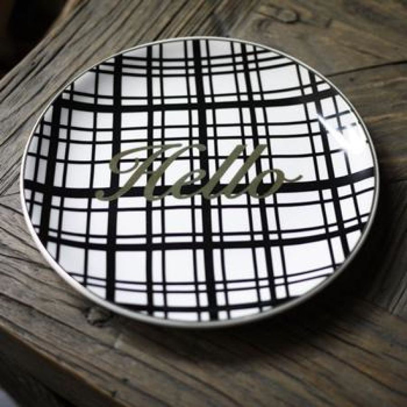 Glamourous French Style Black & White Gold Inlay Dessert Plates (See Variants) - Hello - Kitchen Accessories