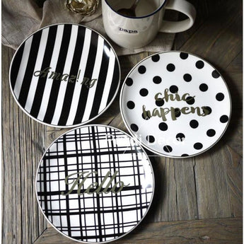 Glamourous French Style Black & White Gold Inlay Dessert Plates (See Variants) - One Set - Kitchen Accessories