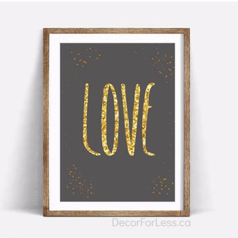 Gold Love Quote On Cotton Canvas - Art Print Wall Painting Poster (Many Sizes) - - Accents