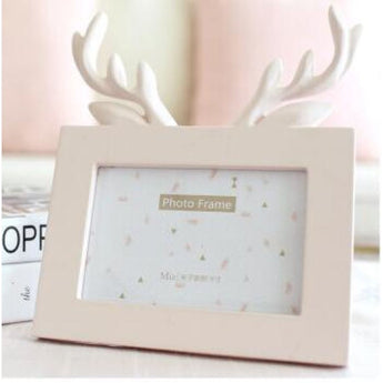 Head Of Deer In Pink - Picture Frame - Resin On Wood - - Wall Accents