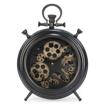 Industrial Metal Table Clock - Dark Gray Gear - - Accessories