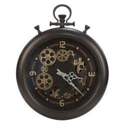 Industrial Metal Wall Clock - Dark Gray Gear - - Accessories