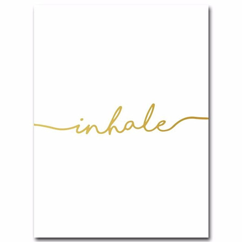 Inhale And Or Exhale Golden Quote Canvas - 13X18Cm Unframed / Picture 1 - Wall Accents