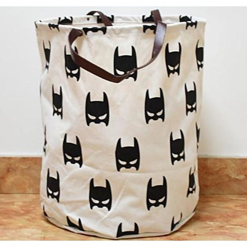 Kids Batman Pattern Storage Basket With Leather Handles - - Accessories