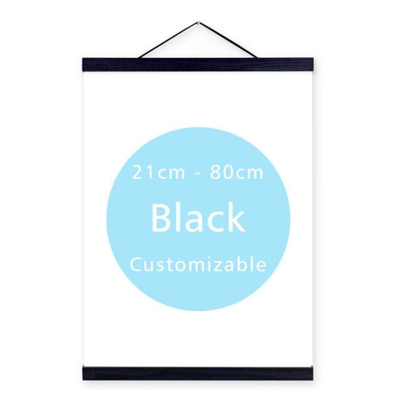 Magnet Wooden Picture Frame Hanger (Many Colors & Sizes) - 30Cm No Print / Black - Wall Accents
