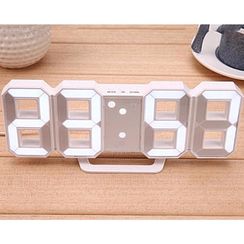 Modern Digital Led Design Table / Alarm Clock With 3 Brightness Levels- In White - - Accessories