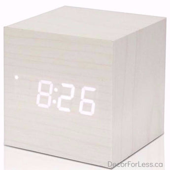 Modern Wooden Digital Alarm Clock & Thermometer - White - Accessories