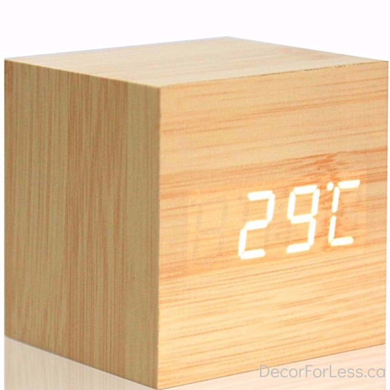 Modern Wooden Digital Alarm Clock & Thermometer - Yellow - Accessories