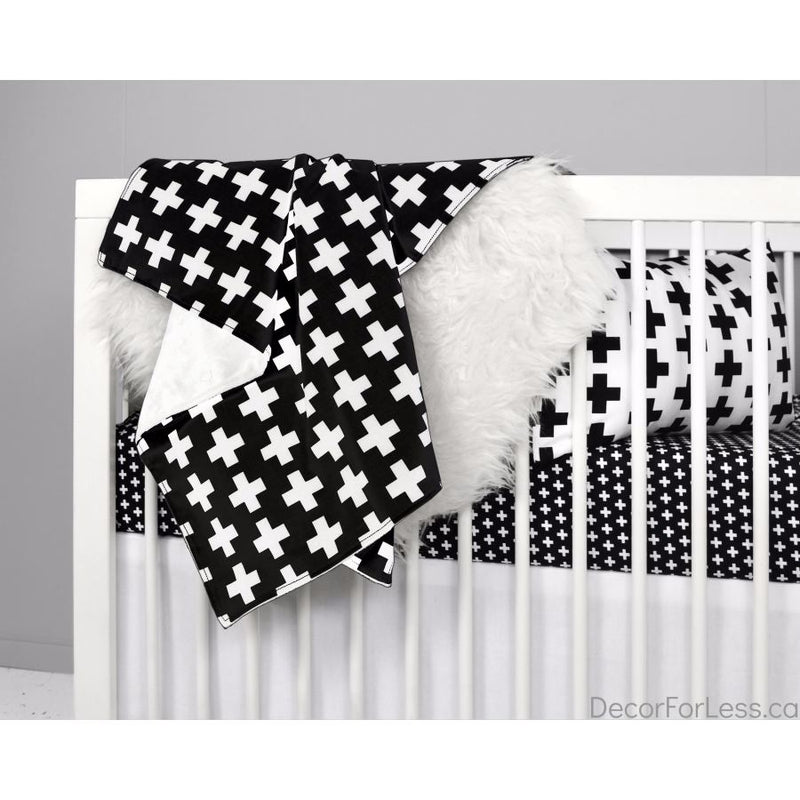 Olli+Lime - Cross Blanket -Black - - Linens