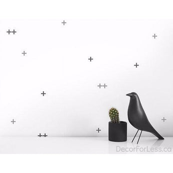 Olli+Lime - Cross Wall Decal -Gray - - Wall Accents