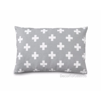 Olli+Lime - Gray Cross Pillow - - Accessories