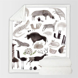 Animal Themed Sherpa Plush Throw Blanket