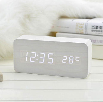 Voice Control Wooden Digital Alarm Clock (Wood grain or White)