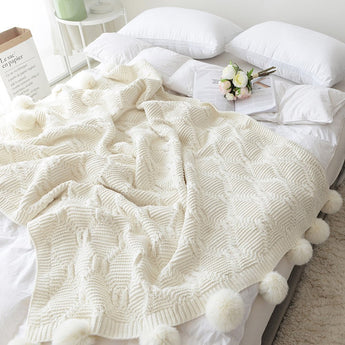 Knit Throw Blanket With Furry Pompom balls