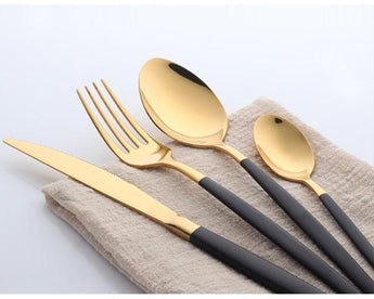 Black & Polish Gold Finish Dinnerware - Set/4