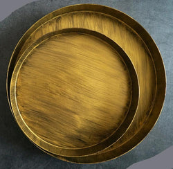Elegant Round Iron Bronze/Matte Gold Serving Tray (Variants)