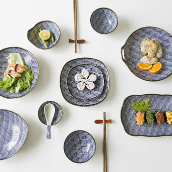 Wave Pattern Ceramic Dinnerware Bowls / Dishes (Variants)