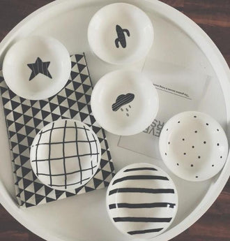 Set/3 Mini White & Black Ceramics Plates